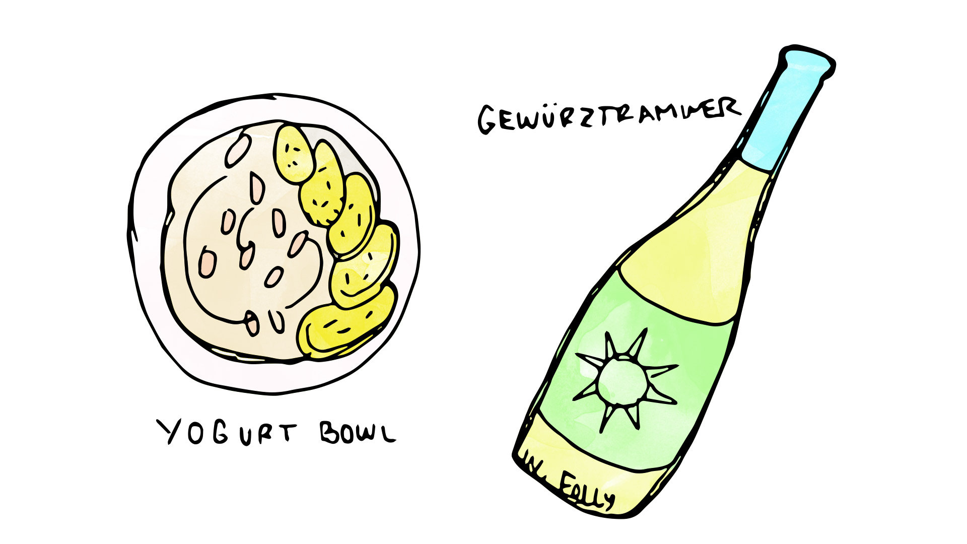 yogurt bowl wine pairing with gewurztraminer illustration by Wine Folly