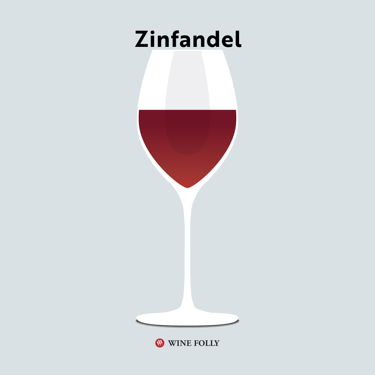 Red Zinfandel in a glass illustration by Wine Folly